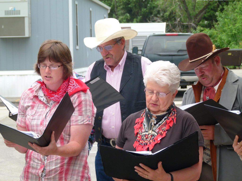 Church choir members singing